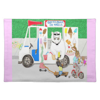 Soy Ice cream On Wheels Cloth Placemat