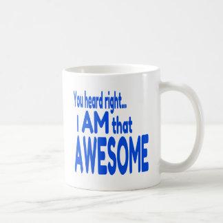 Soy impresionante en azul taza