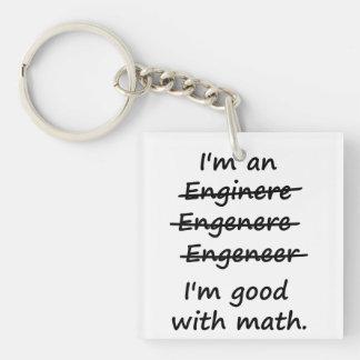 Soy ingeniero que soy bueno en la matemáticas llavero cuadrado acrílico a doble cara