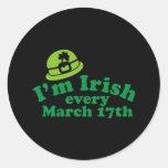 Soy irlandés el cada 17 de marzo pegatina redonda