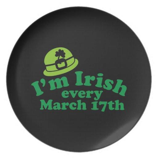 Soy irlandés el cada 17 de marzo plato de cena