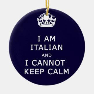 Soy italiano y no puedo guardar el eth divertido adorno redondo de cerámica
