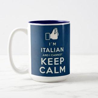 Soy italiano yo no puedo guardar calma taza dos tonos