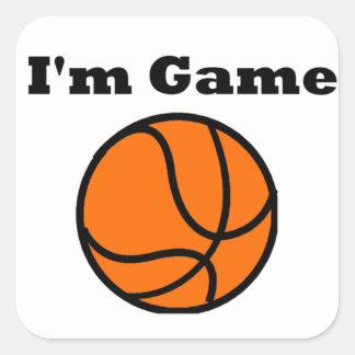Soy juego (el baloncesto) pegatina cuadrada