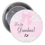 Soy la abuela con los puntos rosados y cordón pin redondo 7 cm