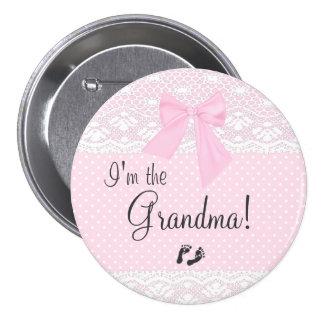 Soy la abuela con los puntos rosados y cordón pin redondo de 3 pulgadas