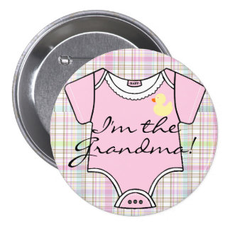 Soy la abuela en la tela escocesa rosada con el pin redondo de 3 pulgadas