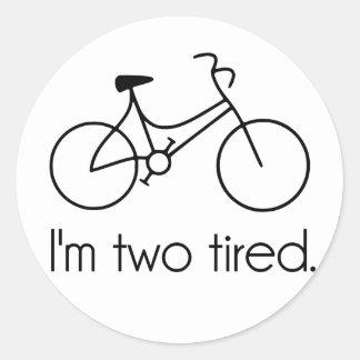Soy la bicicleta soñolienta demasiado cansada cans pegatinas redondas