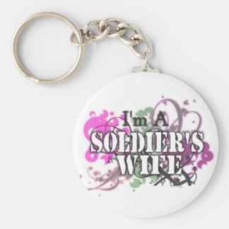 Soy la esposa de un soldado llavero redondo tipo pin