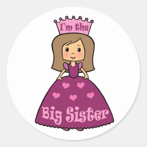 Soy la hermana grande etiqueta redonda