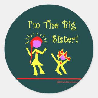 ¡Soy la hermana grande! Pegatina Redonda