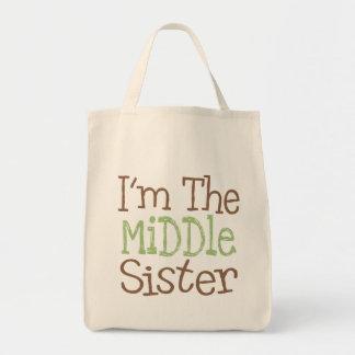 Soy la hermana media el verde bolsas lienzo