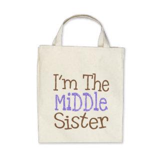 Soy la hermana media púrpura bolsa de mano