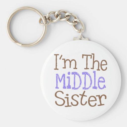 Soy la hermana media (púrpura) llaveros personalizados