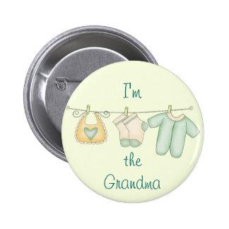 Soy la invitación del bebé de la abuela pin redondo de 2 pulgadas