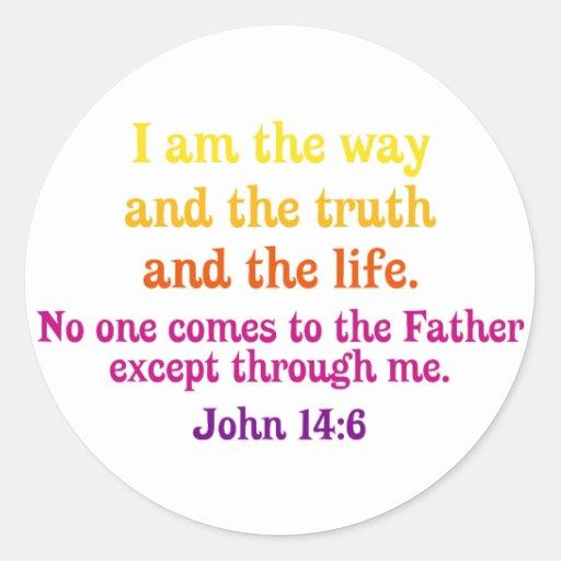 Soy la manera y la verdad y la vida pegatina redonda