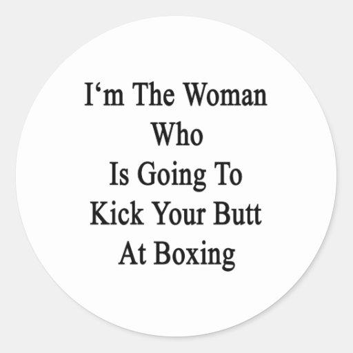 Soy la mujer que va a golpear su extremo con el pegatina redonda