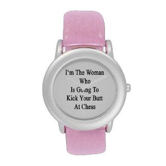 Soy la mujer que va a golpear su extremo con el pi relojes de mano