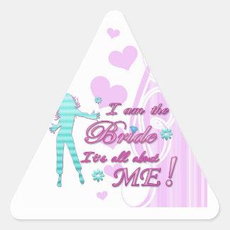 soy la novia sobre mí brida del bachelorette del pegatina triangular