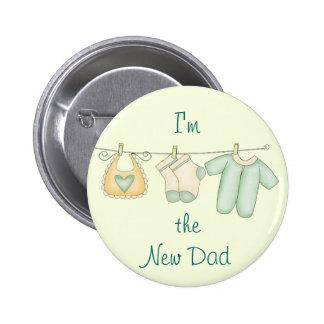 Soy la nueva invitación del bebé del papá pin redondo de 2 pulgadas