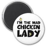 Soy la señora enojada del pollo imanes para frigoríficos