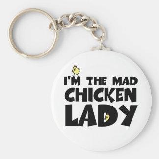 Soy la señora enojada del pollo llavero redondo tipo pin