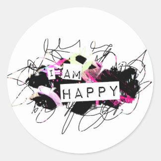 soy la sensación feliz Good.Be Happy.Tell el mundo Pegatina Redonda