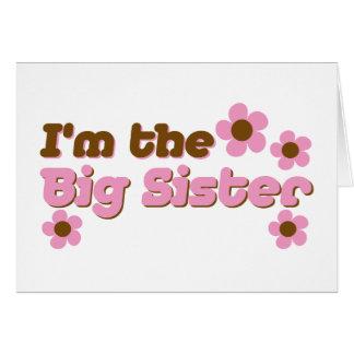 Soy las flores del rosa de la hermana grande tarjeta de felicitación