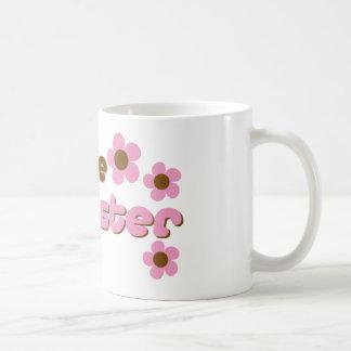 Soy las flores del rosa de la hermana grande taza de café