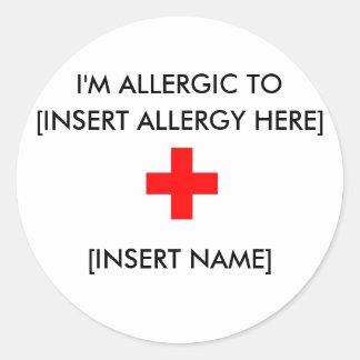 Soy los pegatinas alérgicos (hoja de 6) pegatina redonda
