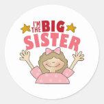 Soy los pegatinas de la hermana grande etiqueta redonda