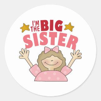 Soy los pegatinas de la hermana grande pegatina redonda