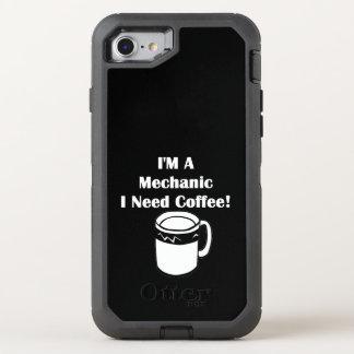 ¡Soy mecánico, yo necesito el café! Funda OtterBox Defender Para iPhone 7