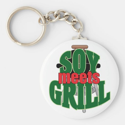 Soy Meets Grill Basic Round Button Keychain