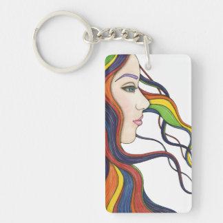 Soy mi propio llavero del acrílico del arco iris