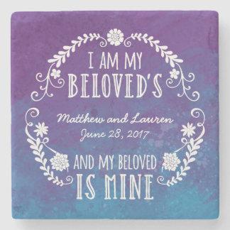 Soy mi querido, casando el azul de la acuarela posavasos de piedra