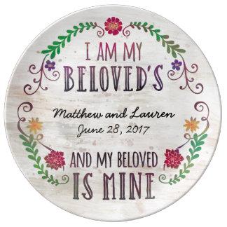 Soy mi querido, casando la acuarela de la fecha plato de cerámica