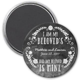 Soy mi querido, casando la acuarela negra imán redondo 7 cm