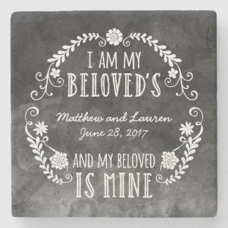 Soy mi querido, casando la acuarela negra posavasos de piedra