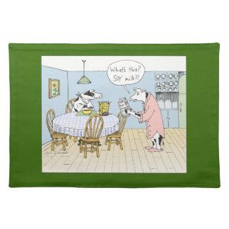 """Soy Milk?"" Funny Cows Cartoon Cloth Place Mat"