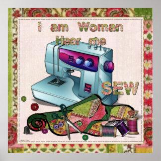 Soy mujer me oigo coser póster