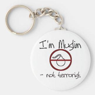 Soy musulmán - no terrorista llavero redondo tipo pin
