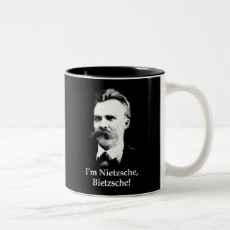 ¡Soy Nietzsche, Bietzsche! Taza De Café De Dos Colores