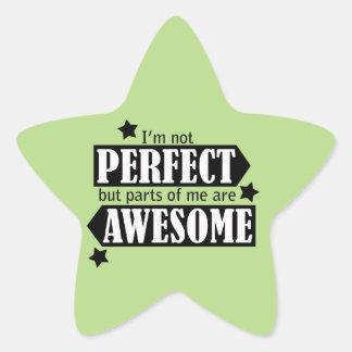 Soy no perfecto sino impresionante - declaración, pegatina en forma de estrella