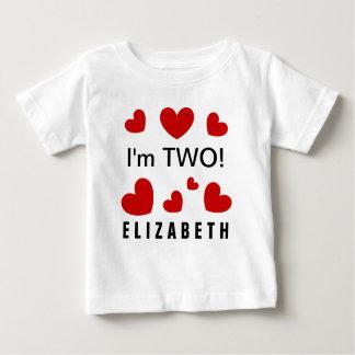 Soy nombre de encargo de dos corazones rojos t shirts