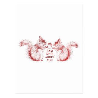 Soy nuts sobre usted, ardillas en amor tarjeta postal