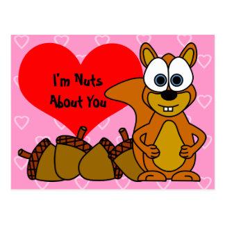 Soy Nuts sobre usted - postal linda de la ardilla