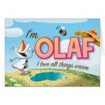 Soy Olaf, yo amo todas las cosas calientes Tarjetas