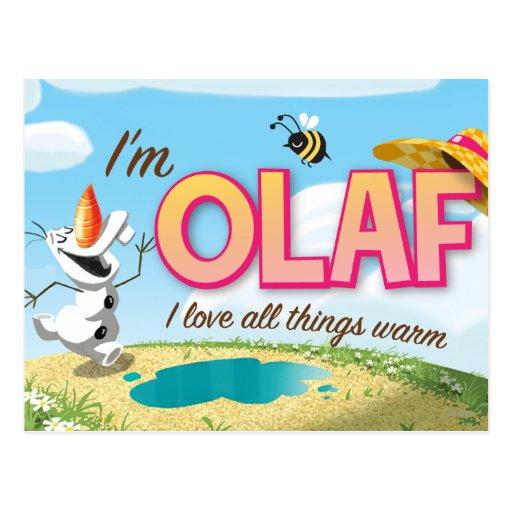 Soy Olaf, yo amo todas las cosas calientes Tarjetas Postales
