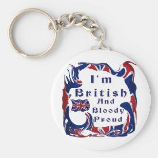 Soy orgulloso británico y sangriento llavero redondo tipo pin